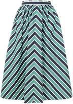 Fendi striped flared midi skirt