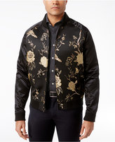 Tallia Men's Slim-Fit Black and Metallic Silver Embroidered Bomber Jacket