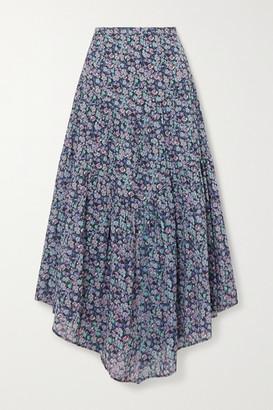 Etoile Isabel Marant Pabna Asymmetric Floral-print Cotton-voile Midi Skirt - Blue