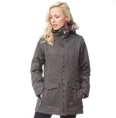 Trespass Womens Everyday Insulated Herringbone Parka Jacket Khaki