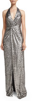 Halston Sequined Halter Gown with Front Slit