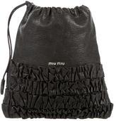 Miu Miu Leather Ruffle-Paneled Pouch