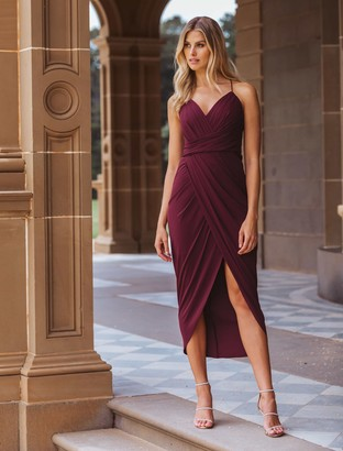 Forever New Charlotte Drape Maxi Dress - Red Shiraz - 4