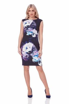 Roman Originals Womens Purple Floral Printed Jersey Pleated Bodycon Dress Sizes 10-20 - Ladies Stretch Dresses - Purple - Size 18