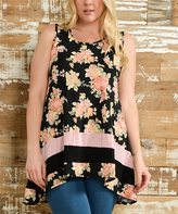 Celeste Black Floral Tiered Sidetail Tank - Plus