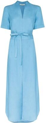 USISI SISTER Belted Linen-Blend Maxi Dress