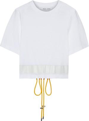 Prabal Gurung Leather-trimmed Cotton-jersey T-shirt