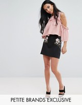 Fashion Union Petite Embroidered Mini Skirt