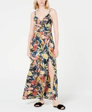 Teeze Me Juniors' Tropical-Print Slit Maxi Dress