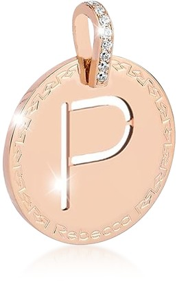 Rebecca Rose Gold-plated Bronze & Zirconia P Charm W/Rhodium-plated Necklace