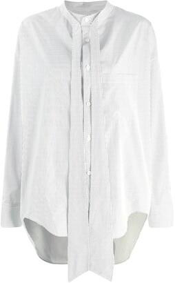 Balenciaga Logo Print Tie-Neck Shirt