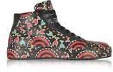 Cesare Paciotti Multicolor Printed Leather High Top Men's Sneakers