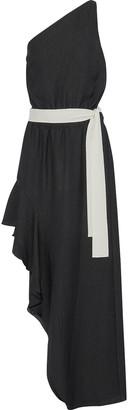 Halston One-shoulder Asymmetric Seersucker Dress