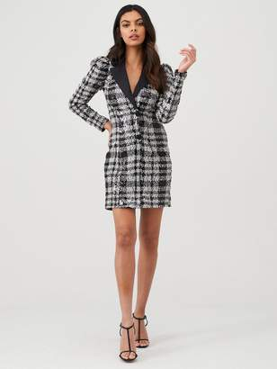 River Island Check Sequin Long Sleeve Tux Dress- Silver