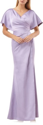 JS Collections Faux Wrap Bonded Satin Gown