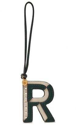Mulberry Bi-Colour Leather Keyring- R Green and Chalk Silky Calf