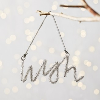 The White Company Beaded Wish Christmas Decoration, Silver, One Size