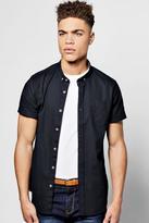 boohoo Navy Short Sleeve Oxford Shirt navy