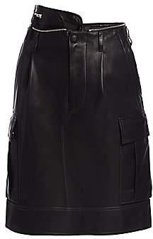 Helmut Lang Women's High-Waist Leather Military Skirt