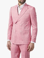 Richard James Mayfair Double Breasted Linen Suit Jacket, Coral