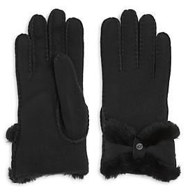 UGG Sheepskin Shearling Turned Bow Gloves