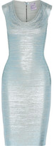Herve Leger Maira Metallic Bandage Dress - Light blue