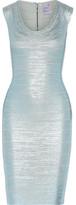 Herve Leger Maira Metallic Bandage Dress - Light blue
