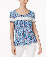 NY Collection Petite Printed Crochet-Trim Open-Back Top