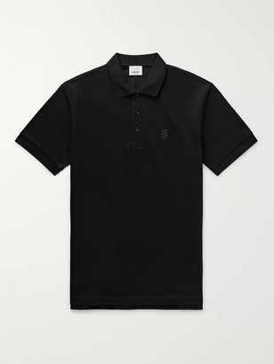 Burberry Slim-Fit Logo-Embroidered Cotton-Pique Polo Shirt