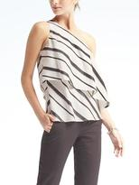 Banana Republic Stripe Flounce-Hem One-Shoulder Top