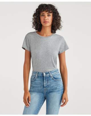 7 For All Mankind Pima Cotton Baby Tee In Heather Grey