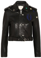 Maje Embroidered Leather Biker Jacket - Black