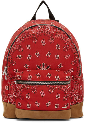 Amiri Red Canvas and Suede Bandana Backpack