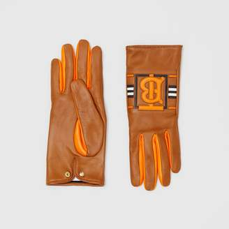 Burberry Monogram Intarsia Cashmere-lined Lambskin Gloves