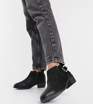 Dune Wide Fit mid heeled ankle buckle boots in black leather