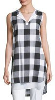 Misook Sleeveless Gingham Layered Shirt