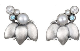 Satya Sterling Lotus Flower & Gemstone Earrings