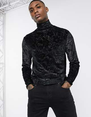 Asos Design DESIGN long sleeve t-shirt with roll neck in sheer paisley mesh in black