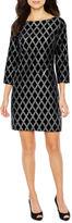 Jessica Howard 3/4 Sleeve Velvet Diamond Shift Dress