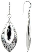 Lois Hill Sterling Silver Black Onyx & Carved Scroll Drop Earrings