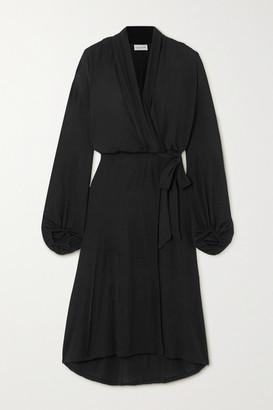 By Malene Birger Ismene Draped Satin-jersey Wrap Midi Dress - Black