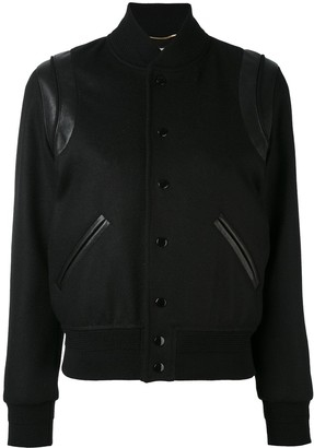 Saint Laurent Leather Trim Varsity Jacket