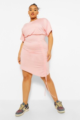 boohoo Plus Ruched Front Batwing Bodycon Dress