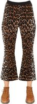 Stella McCartney Flared Leopard Wool Blend Jacquard Pants