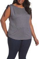 Sejour Plus Size Women's Drawstring Shoulder Tee