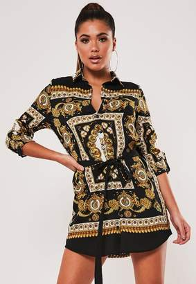 Missguided Black Scarf Print Belted Shirt Dress