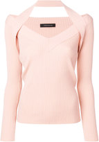 Cédric Charlier ribbed fitted knitted top