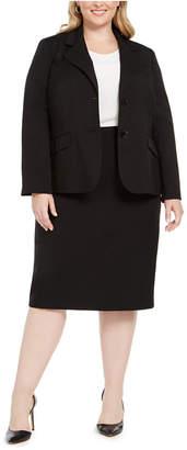 Le Suit Plus Size Two-Button Skirt Suit