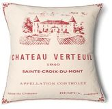 Amity Home Chateau Verteau Square Throw Pillow in Ivory/Red