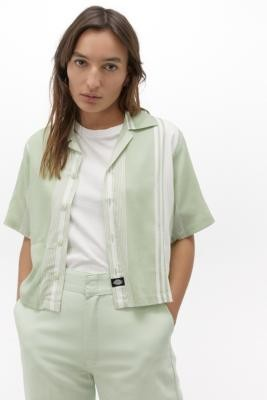 Dickies Striped Crop Shirt - Green XS at Urban Outfitters